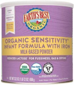 Earth's Best Organic Low Lactose Sensitivity Infant Formula