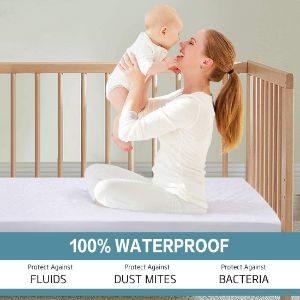 COHOME Crib 100% Waterproof Bambo Mattress Protector-min